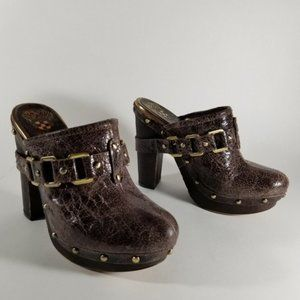 Vince Camuto Brown Cracked Leather Heeled Mules